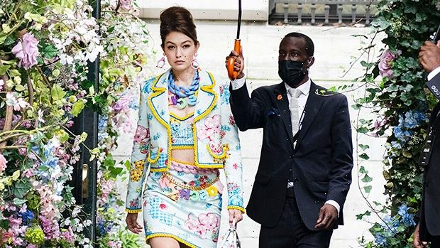New Mom Gigi Hadid Slays In Colorful Crop Top & Skirt As She Holds Baby Bottle On Moschino Runway