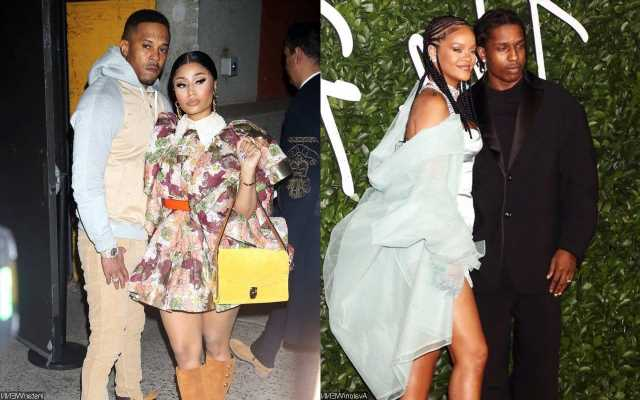 Rihanna and Nicki Minaj Cozy Up to Respective Partners A$AP Rocky and Kenneth Petty on Double Date