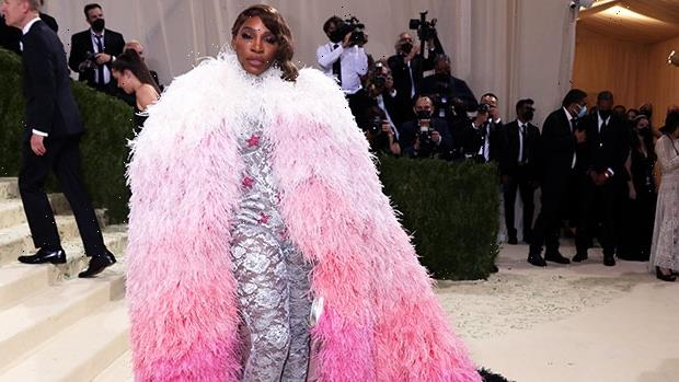 Serena Williams Slays In Massive Pink Feather Cape & Silver Jumpsuit At 2021 Met Gala – Photos