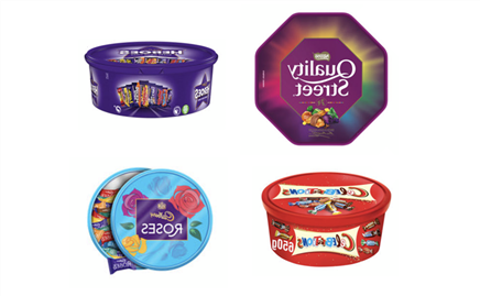Asda is selling two tubs of Christmas chocolate including Roses, Quality St and Heroes for £7