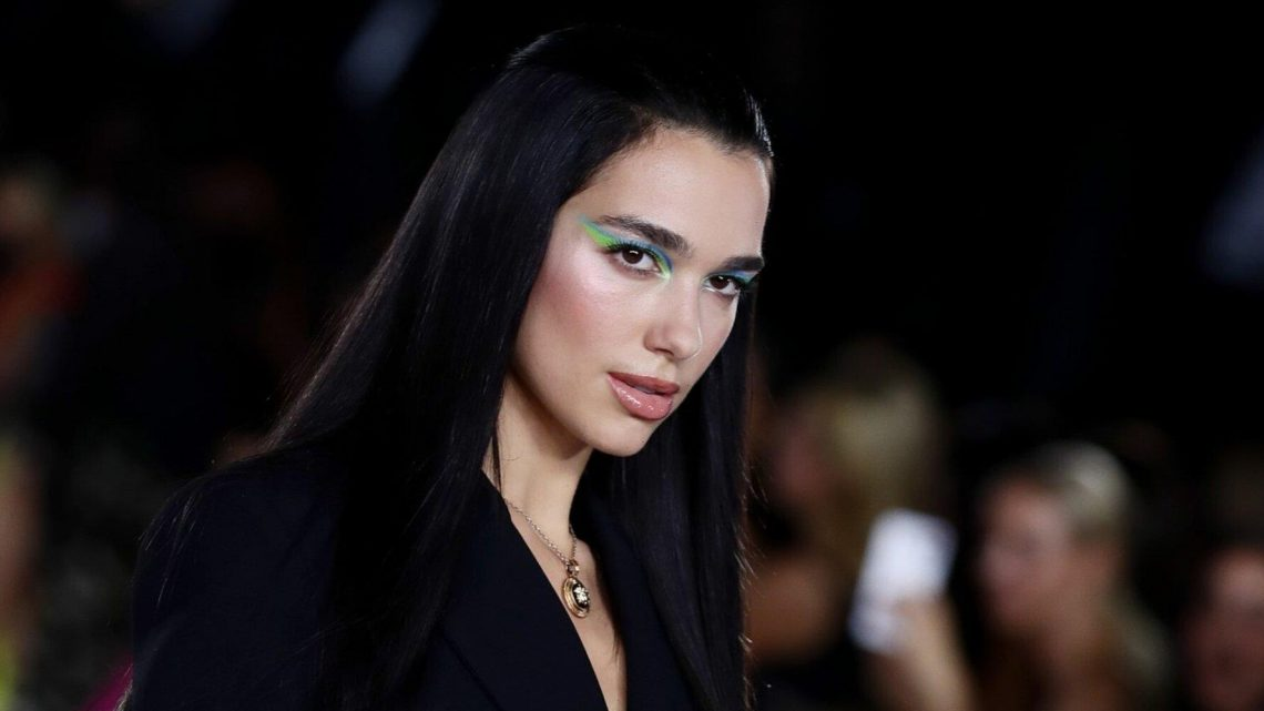 Dua Lipa Wore a Mini LBD With Bedazzled Flower-Shaped Pasties