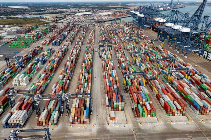 Port filled with containers of undelivered goods due to HGV driver shortage